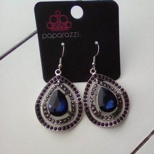 Paparazzi Silver & Blue Topaz Earrings.